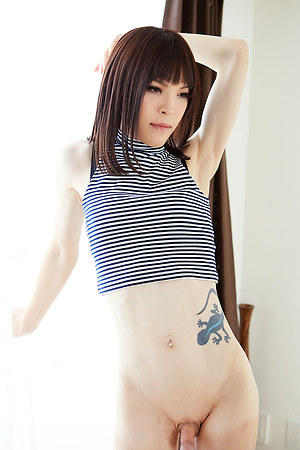 Cute japanese tgirl Kawai Yui showing his skinny body and nice ass